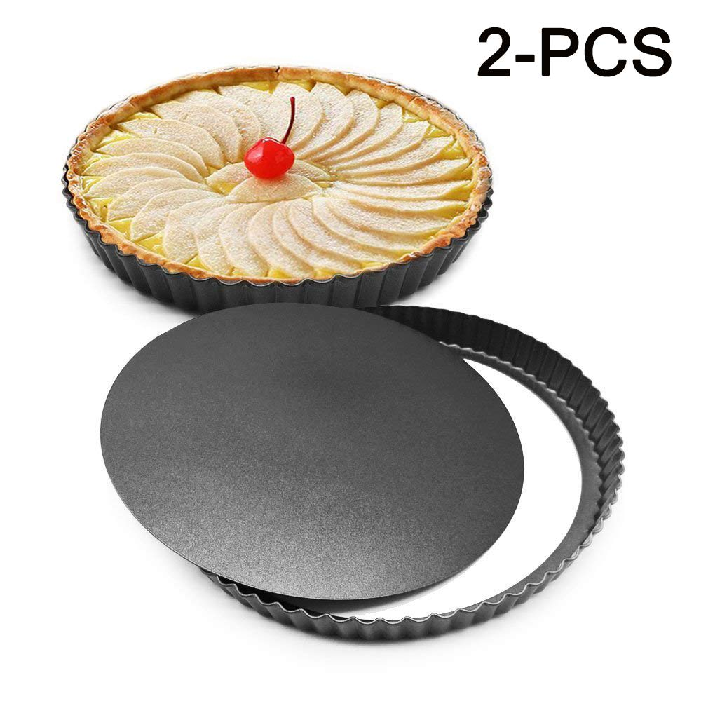 Xelparuc 2Pcs 8.8 Inches Non-Stick Removable Loose Bottom Quiche Tart Pan, Tart Pie Pan, Round Tart Quiche Pan with Removable Base(Black)