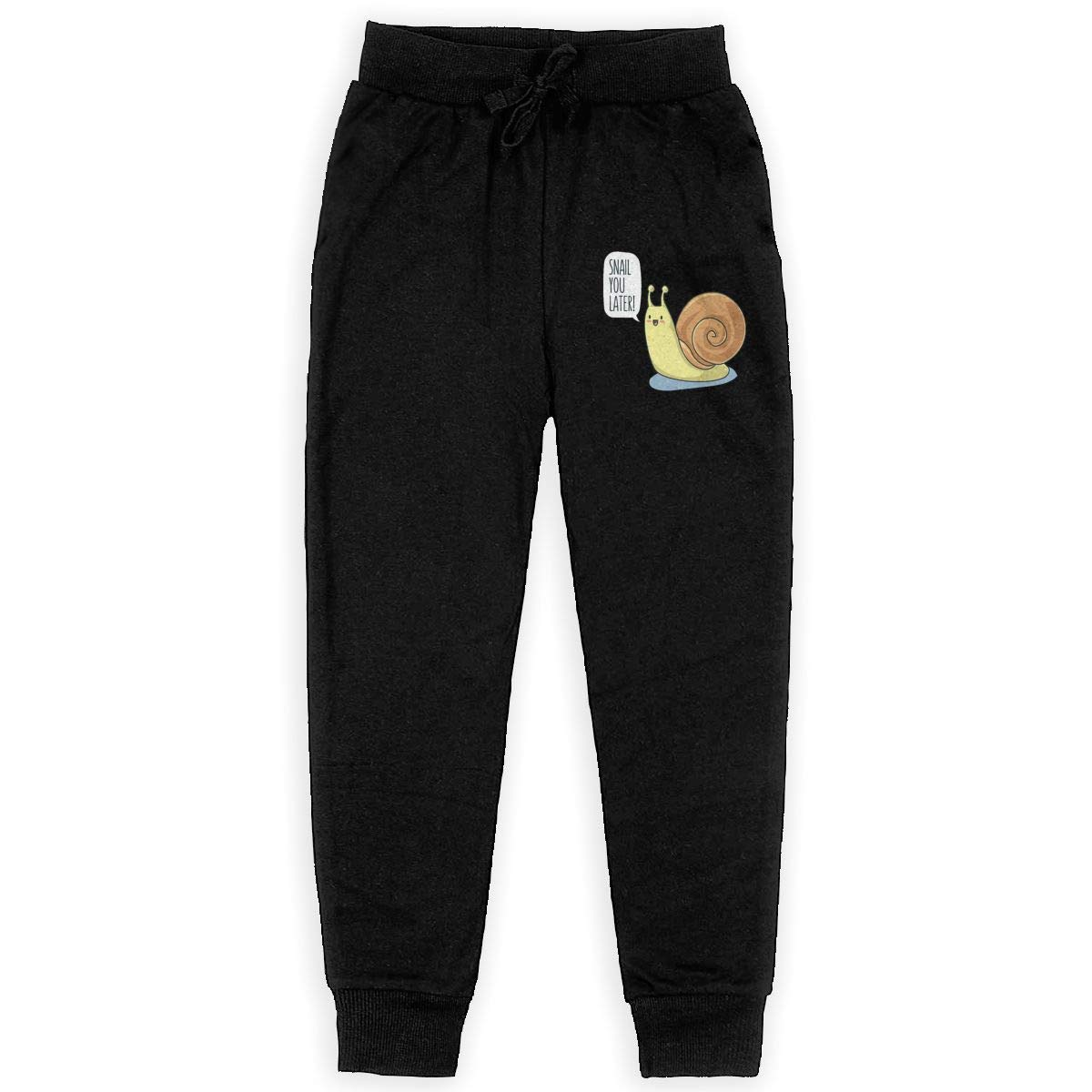 Kim Mittelstaedt Snail You Letter Boys Big Active Basic Casual Pants Sweatpants for Boys Black
