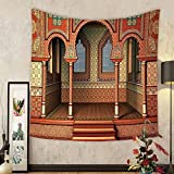 Gzhihine Custom tapestry Arabesque Decor Tapestry Middle East Oriental Inner Palace Islamic Architecture Vintage Art Design for Bedroom Living Room Dorm 80WX60L Golden Red