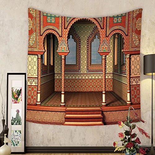 Gzhihine Custom tapestry Arabesque Decor Tapestry Middle East Oriental Inner Palace Islamic Architecture Vintage Art Design for Bedroom Living Room Dorm 80WX60L Golden Red by Gzhihine