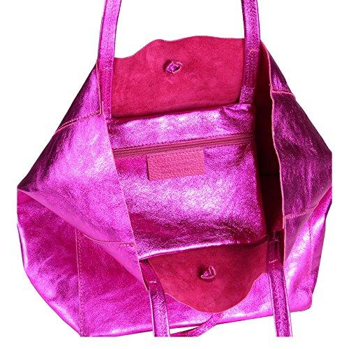 cm Sac Sac Sac à OBC env LxHxP SAC 38x36x9 tressé à pour femmes OR IN ITALY aspect Courses sac a4 din de Bandoulière GOLD Métallique Tote véritable Metallic Pink MADE cuir main qvHvZfx6