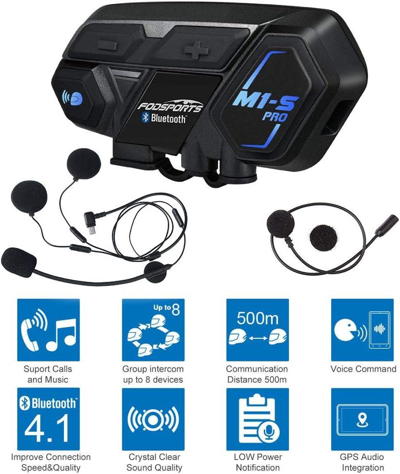 2x 2KM Motorcycle Helmet Intercom M1-S Pro 8 Riders Bluetooth Headset Interphone