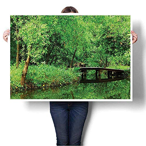 """Canvas Wall Art for Bedroom Home Decorations Deep in The Forest Woodsy Landscape with Leaves and Bridge Bathroom Accessories for Home Decoration,36""""W x 20""""L(Frameless)"""