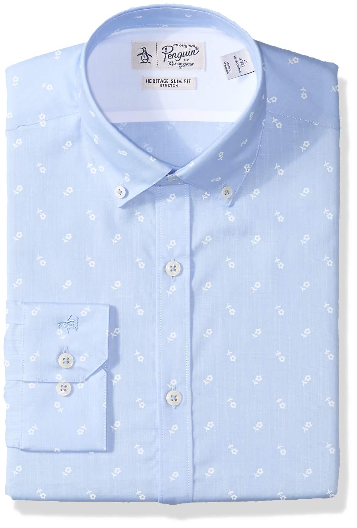 Original Penguin Men's Slim Fit Button Down Collar Dress Shirt, Blue Flower Print, 15.5 32/33