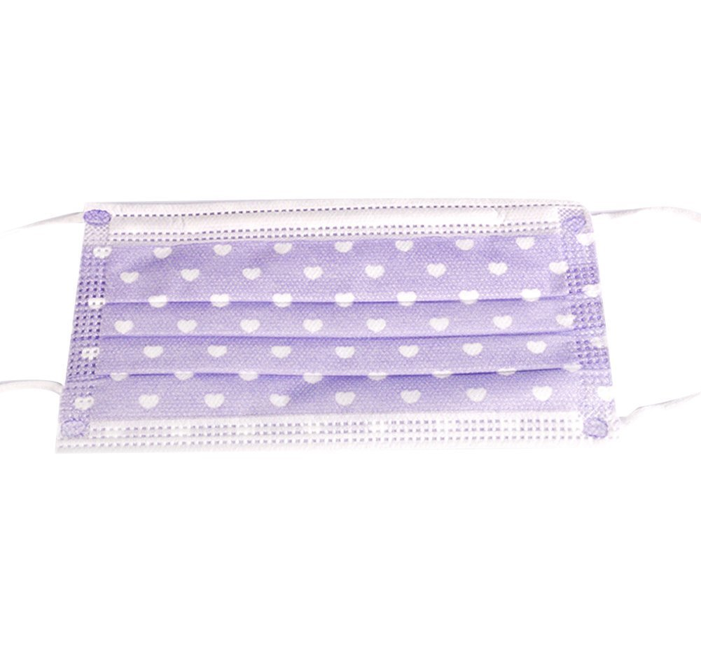 SEADEAR Disposable Nonwoven printing Masks Anti Dust Mask Face Mouth Masks(Purple,50pcs)