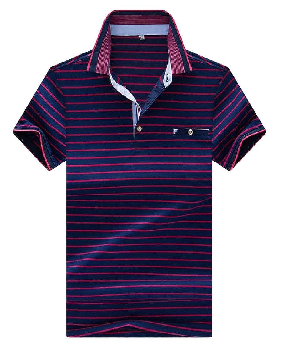 Wofupowga Men Short Sleeve Business Striped Turn Down Tee Polo Shirts