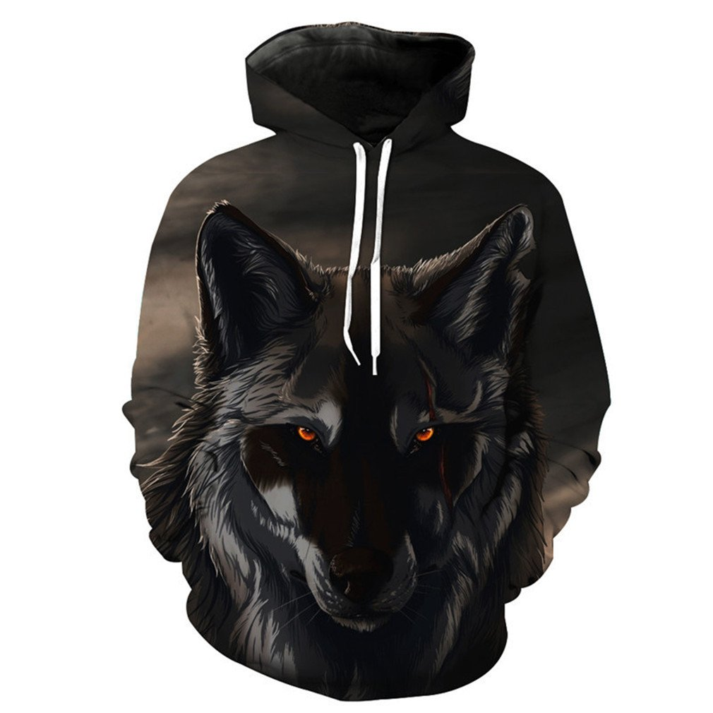 eye Black Wolf Neutral Hoodies Fall Pullover Wolfhdies Red