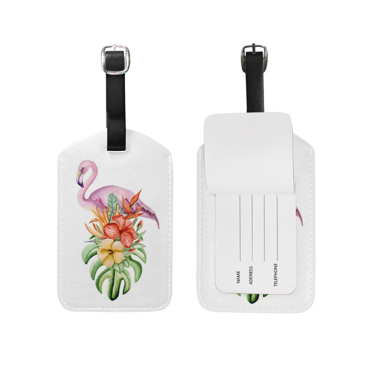 Aibileen Cute Animal Flamingo Tropical Leaves Luggage Tag for Baggage Suitcase Bag Leather 1 Piece