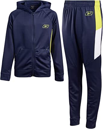 Reebok Boys 2-Piece Athletic Tracksuit Set with Zip Up Jacket and Jog Pants