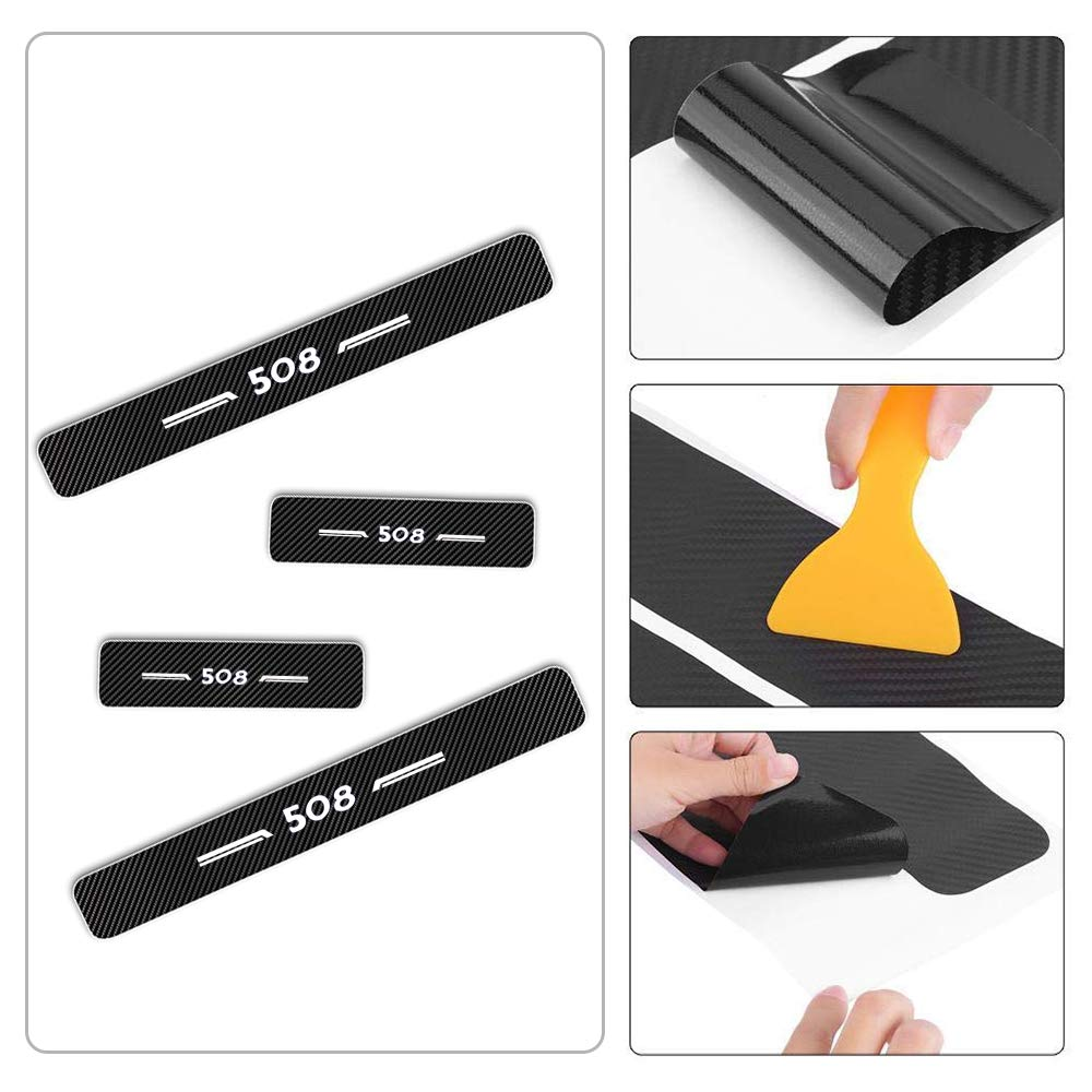 For 508 4D M Car Pedal Covers Door Sill Protectors Entry Guard Scuff Plate Trims Anti-Scratch Reflective Carbon Fiber Stickers Auto Accessories Exterior Styling 4Pcs White