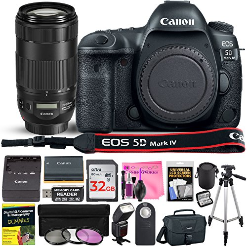 Canon Eos 5D Mark IV DSLR Full-Frame 30.4 MP Digital Camera with Built-in Wi-Fi, GPS & NFC Starter Lens Kit with EF 70-300mm f/4-5.6 is II USM Lens & Deluxe Camera Works Accessory Bundle