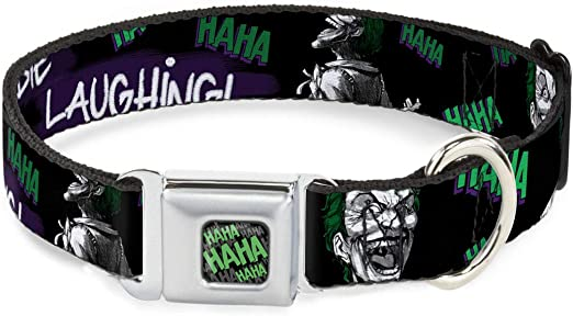Buckle-Down Dog Collar Seatbelt Buckle Joker Die Laughing Haha Black Purple Green Available in Adjustable Sizes for Small Medium Large Dogs
