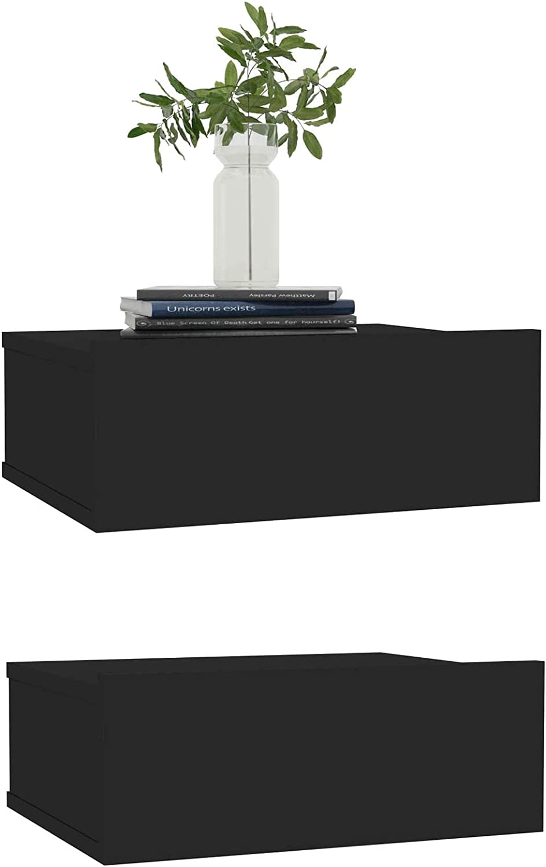 EU Stock Autoshoppingcenter Set di 2 Comodini Sospesi Mensola per Parete Bianco Lucido con Cassetto in MDF 40x30x15 cm