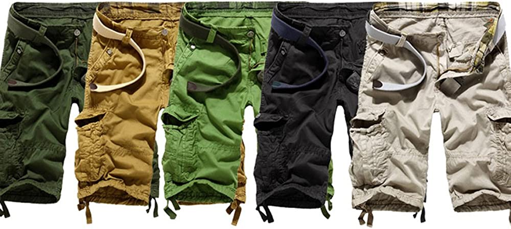 Juanshi Fathers Day Casual Cargo Short Color Army Green
