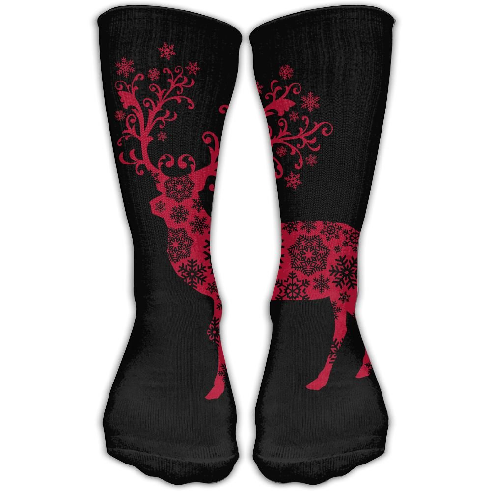 Protect Wrist For Cycling Moisture Control Elastic Sock Over-the-Calf Tube Socks Red Deer Athletic Soccer Training Socks