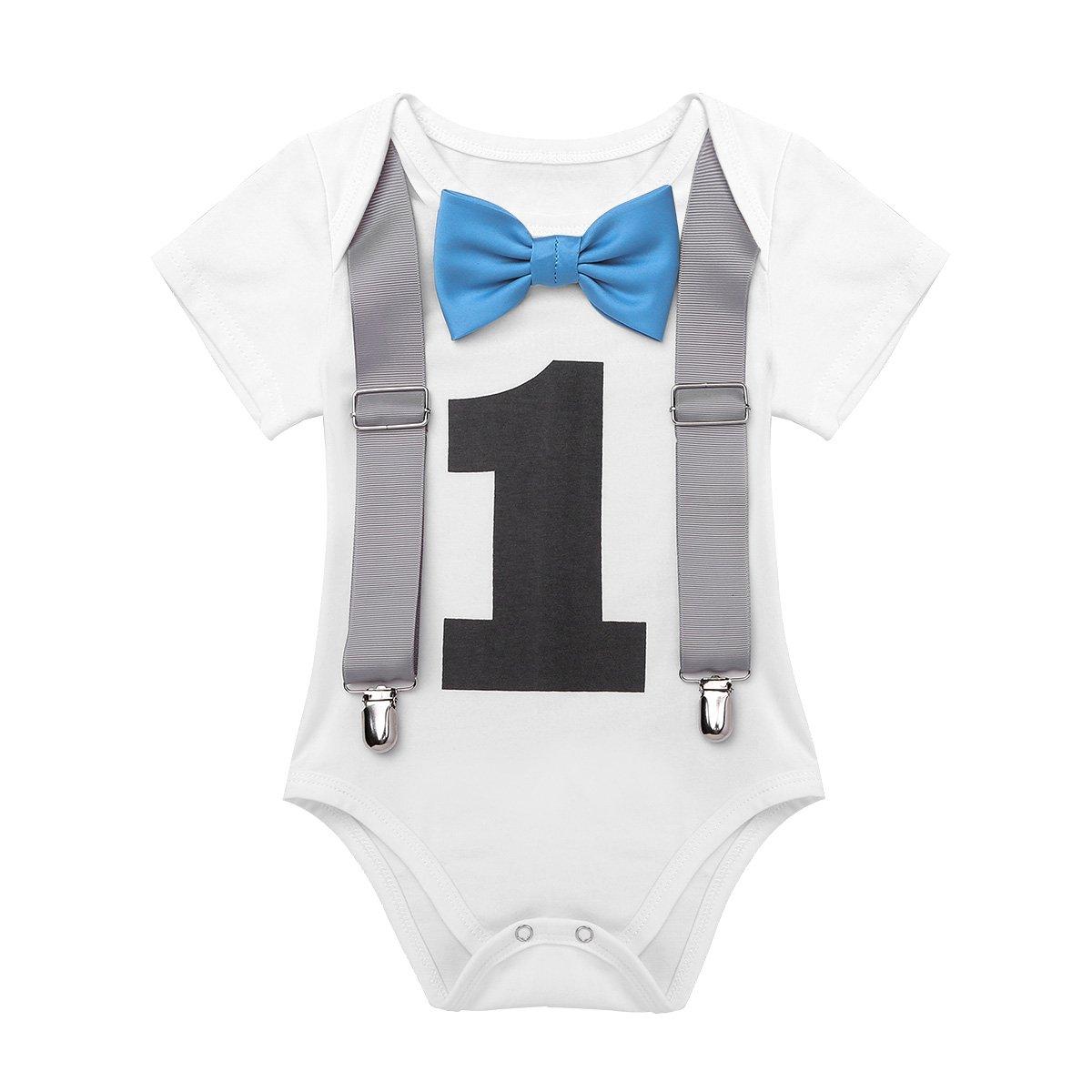 Tiaobug Baby Body Jungen Strampler Kurzarm Blaue Schleife Fliege Hosenträger - Nummer Eins - Aufdruck Knopfdruck am Schritt Bodysuit Overall 1 Jahr Geburtstag Taufe Geschenk
