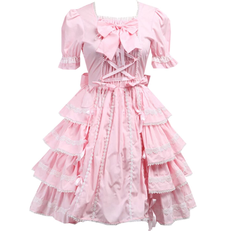 Patiss Damen Frauen Quadratische Ansatz Spitze Ruesche Lolita Kleid