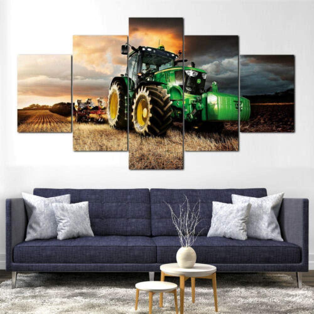 YFTNIPL 5 Piezas Lienzo Poster John Deere Tractor Cortacésped HD Arte De La Pared Impresa Moderno Decoración Dormitorio El Hogar Pintura De La Lona Foto Regalo Listo para Colgar