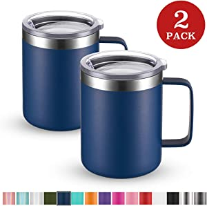 Civago Stainless Steel Coffee Mug Cup with Handle, 12 oz Double Wall Vacuum Insulated Tumbler with Lid Travel Friendly (Navy Blue, 2 Pack)