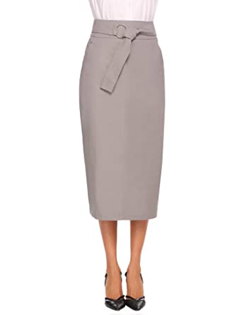 d0c301ae3 Chigant Women's Skirt High Waisted Elegant Smart Midi Tailored Pencil Skirt  With Belt: Amazon.co.uk: Clothing
