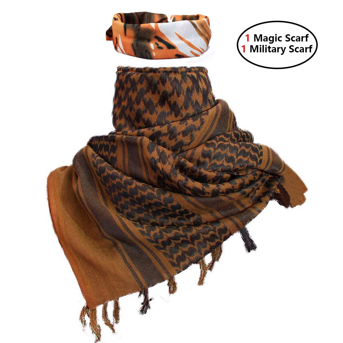 iMucci 43x43 Arab Tactical Scarf 100% Cotton - with Magic Bandanas Desert Shemagh Military Keffiyeh Head Neck Wrap Scarfs for Men and Women (Black) Shenglin