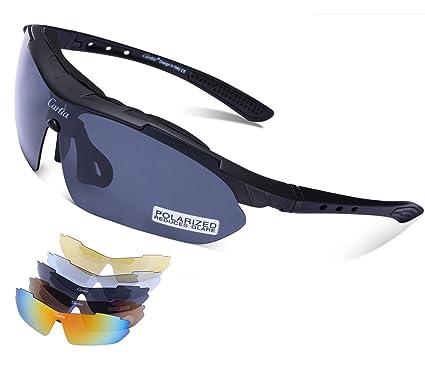 Carfia Gafas de Sol Deportivas para Hombre y Mujer Gafas de Sol Polarizadas Protección UV400 con 5 Lentes Cambiable: Amazon.es: Deportes y aire libre