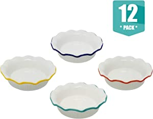 Porcelain Ceramic Individual Mini Pie Pans With Classic Fluted Rims 4 Bright Colors