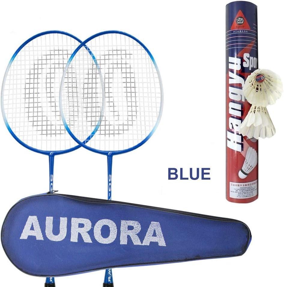 Robusto per Professionisti e Principianti Leggero TOPmountain Set di Racchette da Badminton a 2 Giocatori Doppie Racchette con 12 volani e Borsa per Il Trasporto