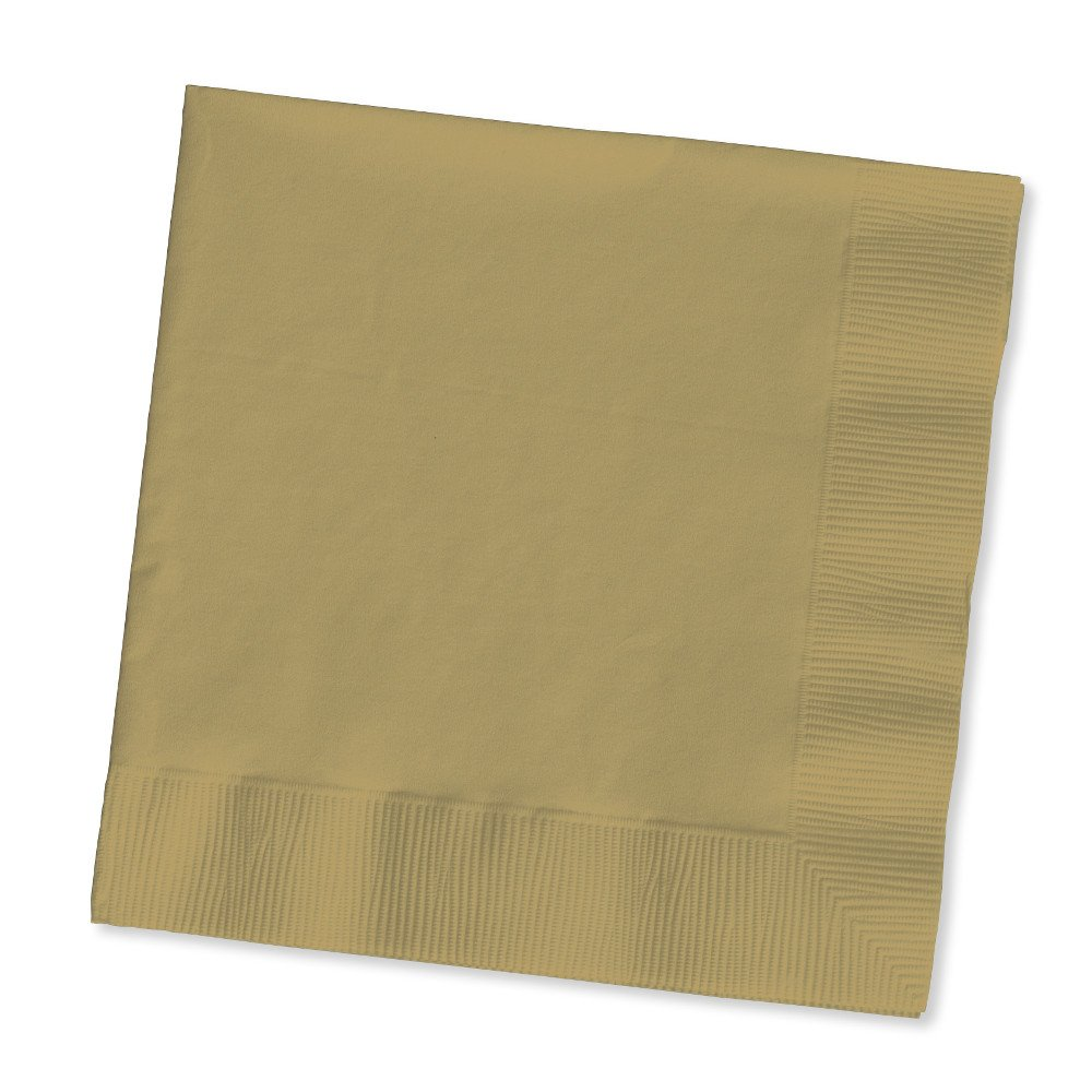 Creative Converting Touch of Color 200 Count 2-Ply Paper Beverage Napkins, Glittering Gold
