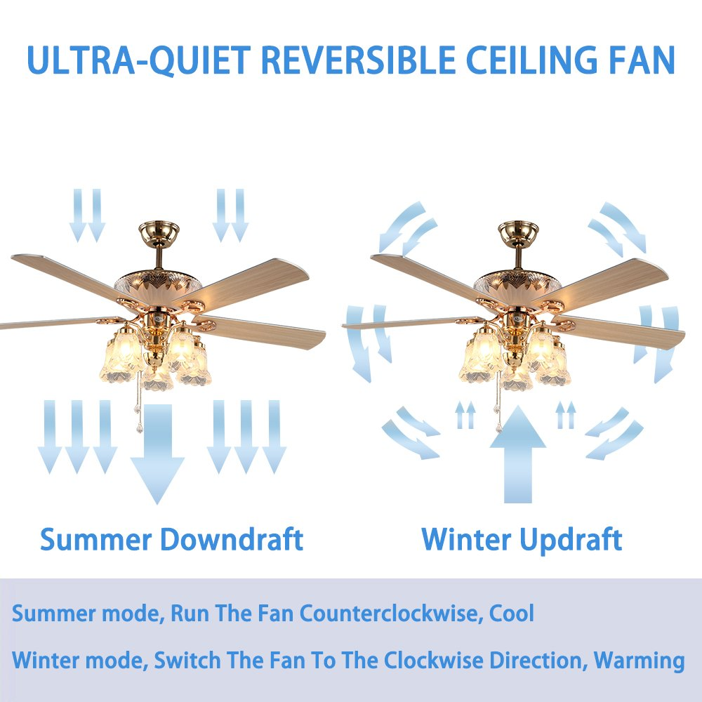 Andersonlight Art Deco Ceiling Fan Remote Control With 5 Wood Blades Glass Flower Shades Reversible Quiet Motor Adjule Down Rods 4 9in 9 8in