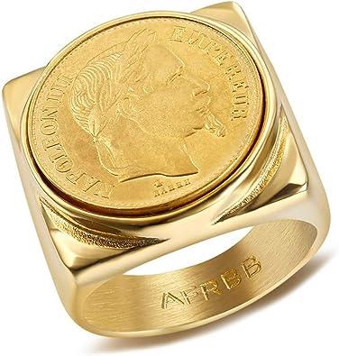 BOBIJOO Jewelry Chevali/ère Bague Napoleon Pi/èce 20 Francs T/ête Laur/ée Plaqu/é Dor/é Acier Or Louis