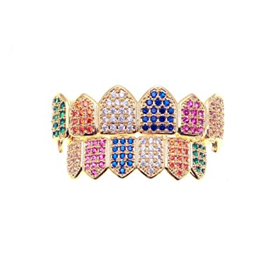 MCSAYS Hip Hop Tooth Grills Set Colorful Crystal Bling Teeth Grill Fashion  Jewelry for Men Women Dope Gifts  Amazon.co.uk  Jewellery 71949af214