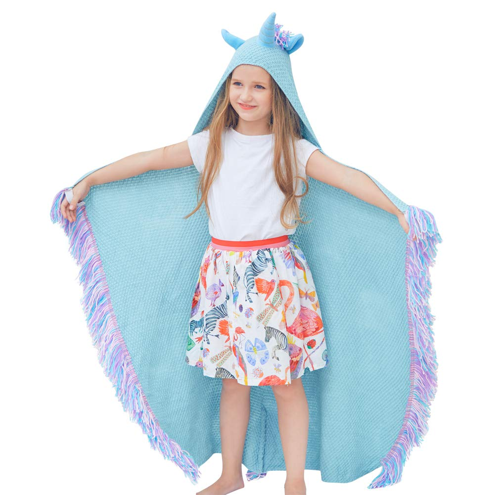 Play Tailor Unicorn Hooded Blanket for Kids Animal Blankets with Hood Soft Knit Unicorn Blanket for Playing Napping Reading Camping (Blue)