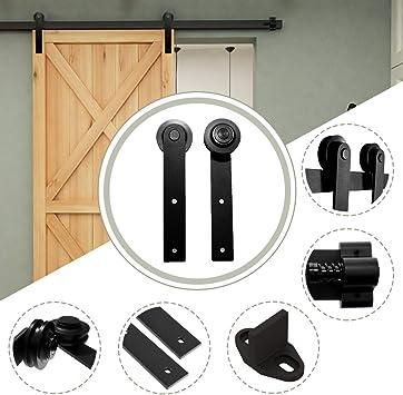 10.5FT/320 cm Herraje para Puerta Corredera Kit de Accesorios para Puertas Correderas,Negro I-Forma: Amazon.es: Bricolaje y herramientas