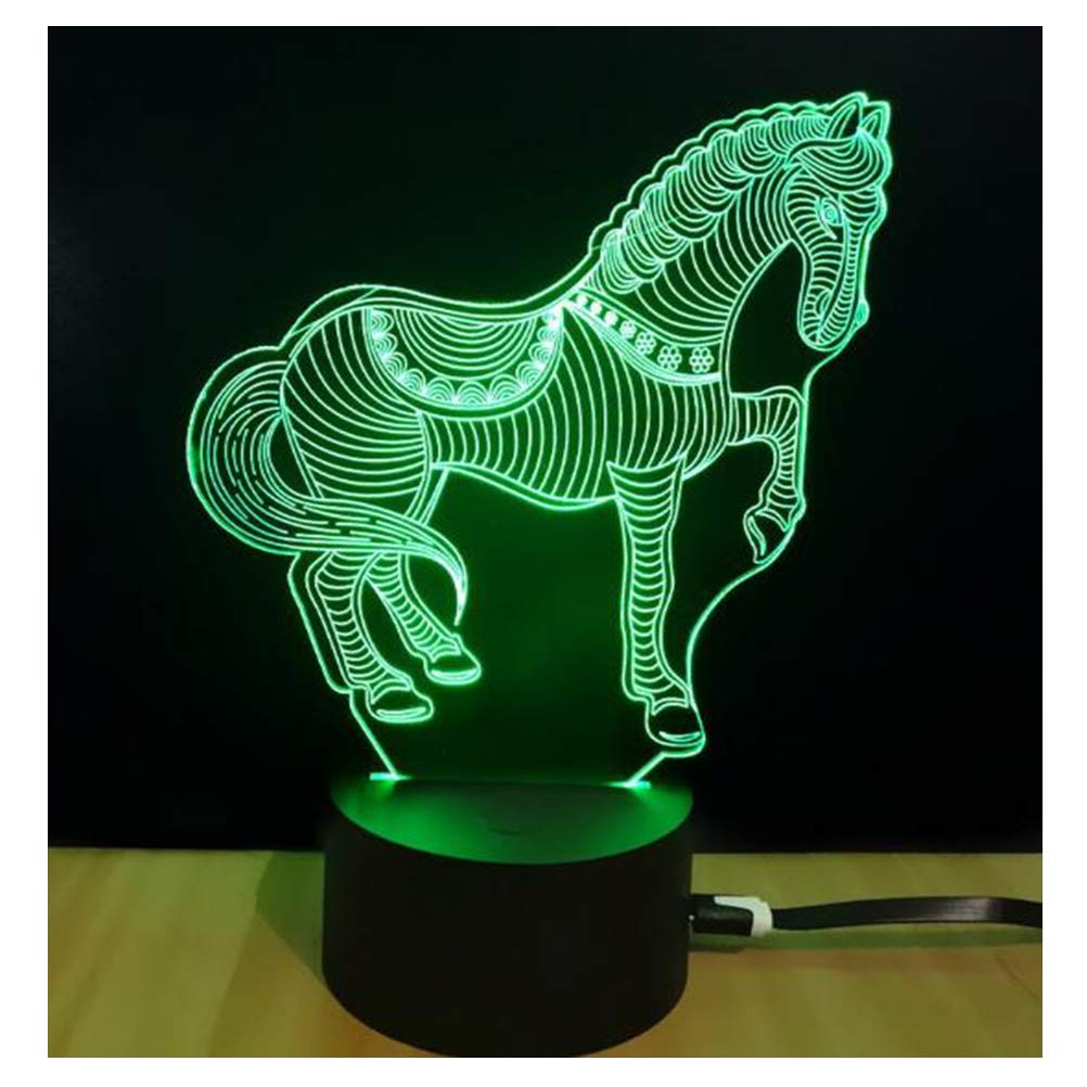 3D night light table lamp, 7 colors optical illusion touch lamp with acrylic flat and ABS base and USB cable for birthday gifts or home decor