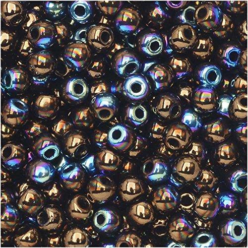 True2 Czech Glass, Round Druk Beads 2mm, 190-200 Pieces, Jet Bronze AB (Glass Druk Beads Ab Czech)
