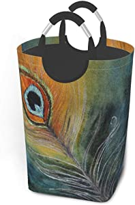 Collapsible Laundry Baskets Large Peacock Feather Original Watercolor Dirty Clothes Laundry Hamper Dorm Fabric Fold Laundry Baskets W/Handles Rectangle Storage Bins For Kids Baby Girl Camp Travel 50l