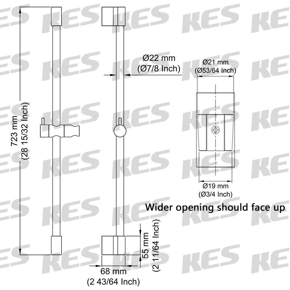 nero KES F200/Hand Shower Slide bar con altezza regolabile scorrevole spruzzatore Holder