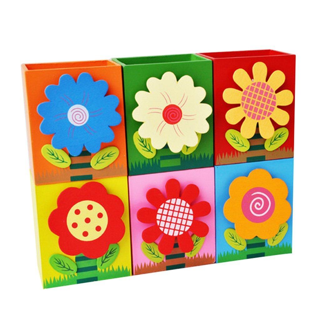 Cupcinu - Estuche de madera para bolígrafo Pencial, diseño de flores, organizador de escritorio, contenedor, cesta de almacenamiento para niños