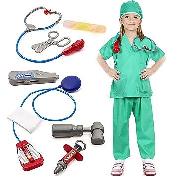 Bascolor Doctora Disfraz para niños Médico Accesorios Cirujano Disfraz de rol para Navidad Carnaval Fiesta 10 Piezas
