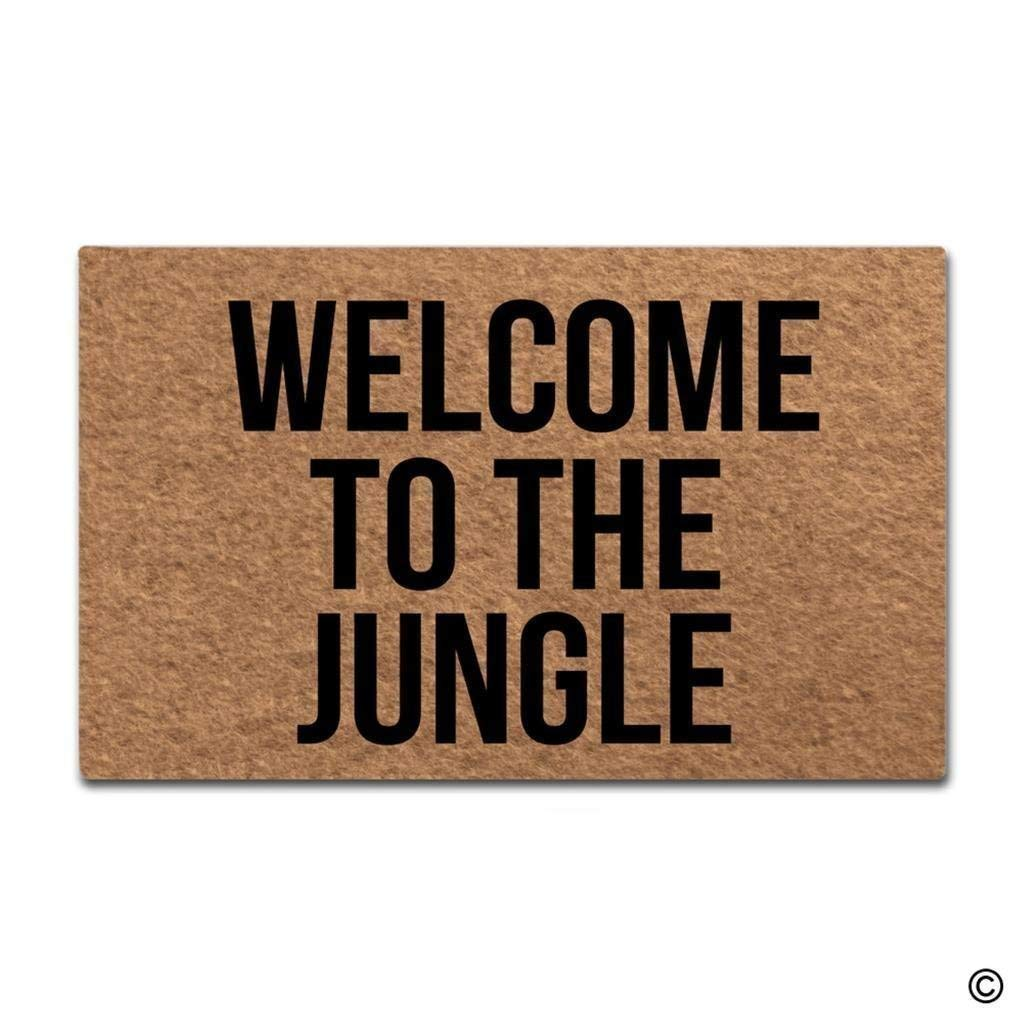 Bikinizaee Colivy Doormat Entrance Floor Mat Welcome to The Jungle Designed Funny Indoor Outdoor Door Mat Non-Slip Doormat Machine Washable Non-Woven Fabric