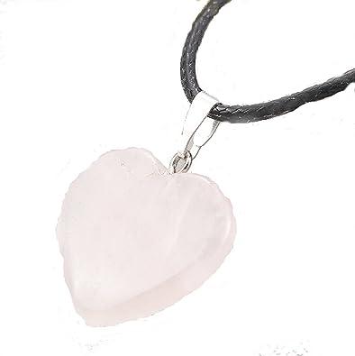 Rose quartz heart pendant on black rope necklace amazon rose quartz heart pendant on black rope necklace aloadofball Choice Image