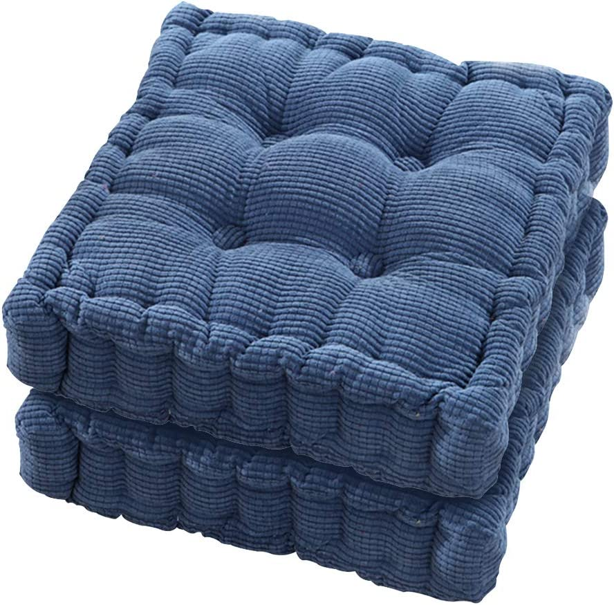 Tiita Chair Pads EPE Filled 2 Pack Tufted Padded Booster Cushion 20x20 Inch Indoor Outdoor Cushions Thickened Tatami Solid Color Pad, Navy Blue