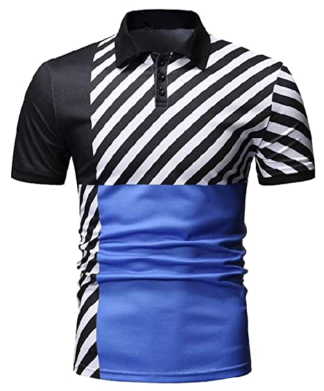 38e20e43e13 KLJR Men Slim Fit Plus Size Short Sleeve Casual Sport Lapel Golf Polo Shirt  Blue S