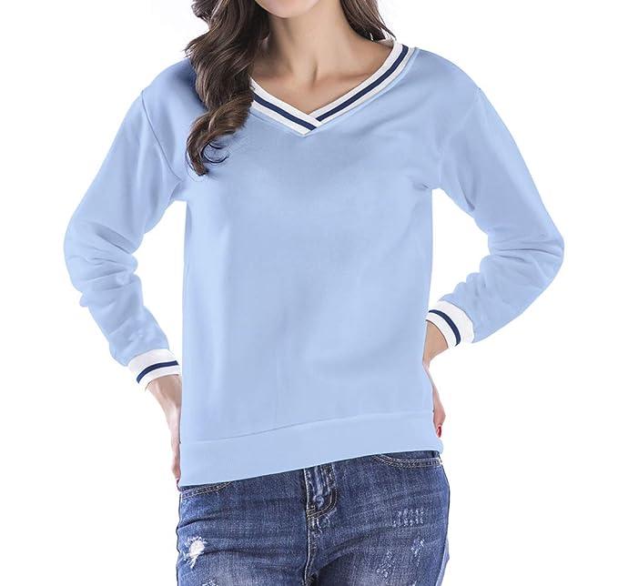 JackenLOVE Primavera y Otoño Mujeres Sudaderas Casual Patchwork Pulóver T-Shirt Blusa Jerséis Moda Cuello
