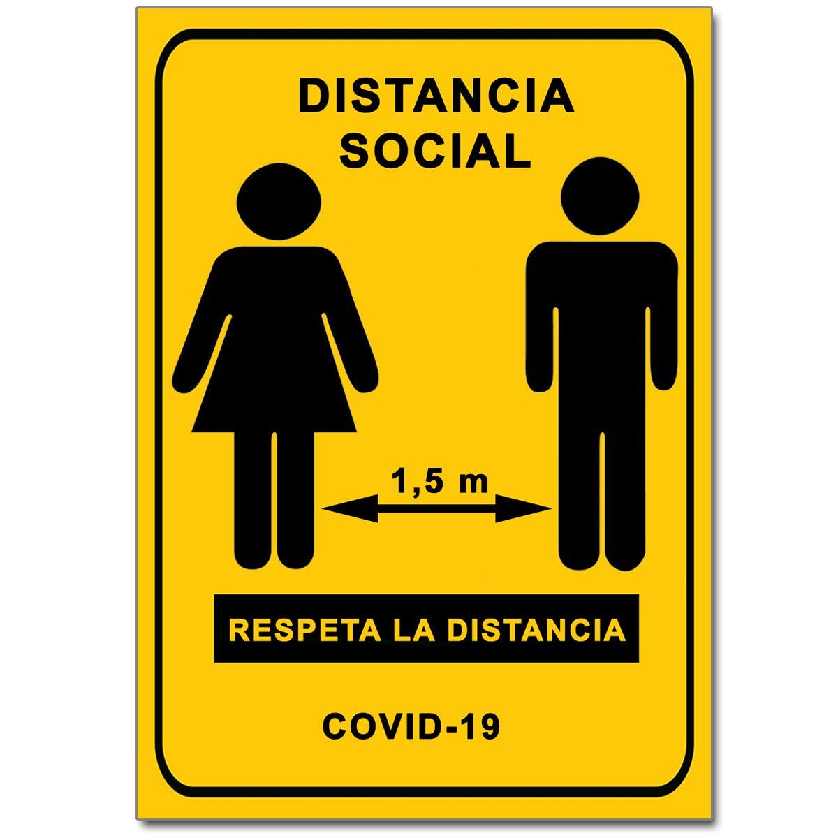 Señalización Coronavirus - Cartel Distancia Social 1,5 m para empresas, comercios, oficinas   Señal COVID-19 Autoinstalable   21 x 30 cm   Descuentos por Cantidad