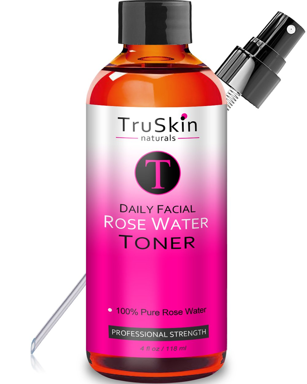 Rose Water Facial Toner Spray - Natural Astringent Face Mist - No artificial fragrance or added chemicals or preservatives - 4 oz by TruSkin Naturals