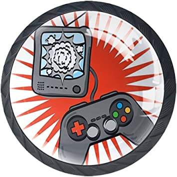 4 Pieces Drawer Knob Pull Handle Kids Video Games Themed Design in Retro Style Gamepad Console Entertainment Crystal Glass Circle Shape Cabinet Drawer Pulls Cupboard Knobs with Screws for Home Office