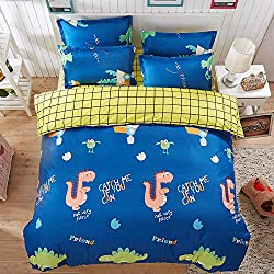 4pcs juego de ropa de cama edredón hoja de cama almohada animal design individual Full Queen Size, Dinosaur, Blue, Doble