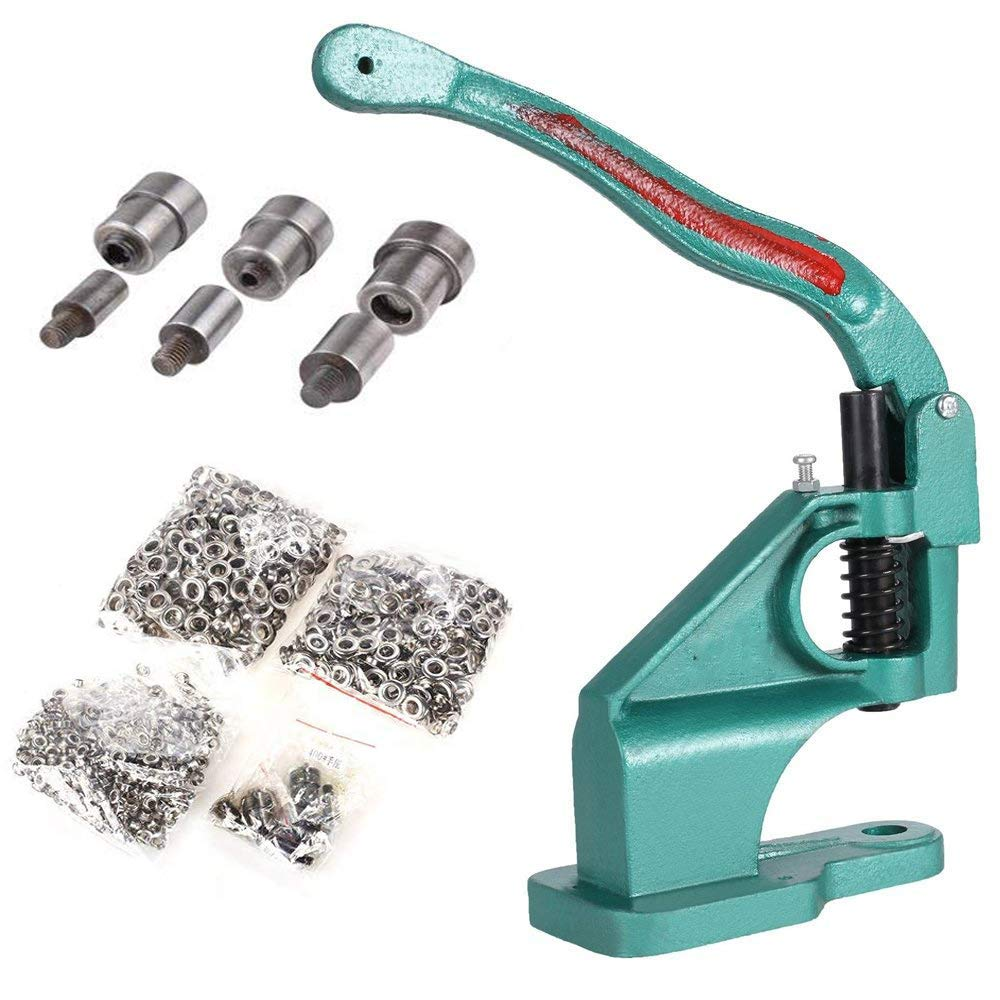 Hand Press Heavy Duty Grommet Machine with 3 Dies #0 #2 #4 and 1500 Pcs Grommets Eyelet Tool Kit